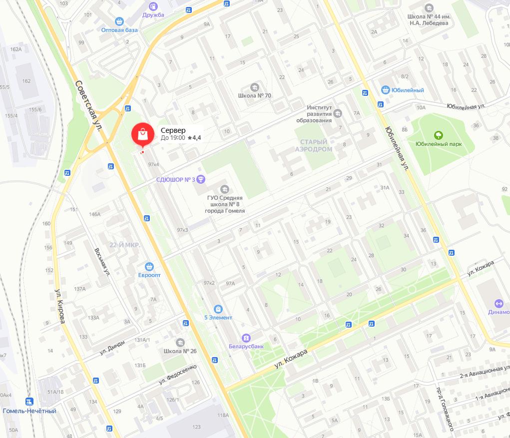Схема проезда на Яндекс карте к магазину